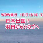 【WDW旅行記-01】1日目① 羽田~乗り継ぎのシカゴへ(3/14)【オーランド】